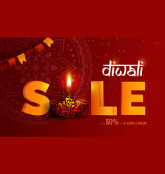 diwali festival of lights sale banner diwali vector image