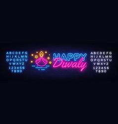 Diwali hindu festival greeting card neon vector