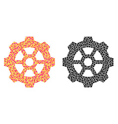 Dotted gear mosaic icons vector