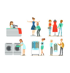 dry cleaning service set people using vector image