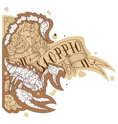 Engraving scorpion vector image