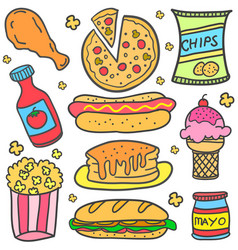 Food various element of doodles vector