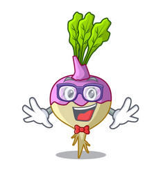 Geek character healthy organic rutabaga root vector