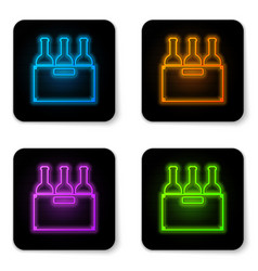 glowing neon bottles wine in a wooden box icon vector image