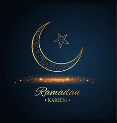 Golden islamic moon and star ramadan kareem vector