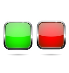 Green and red square buttons Web icons with vector