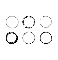 Grunge scribble circle set vector