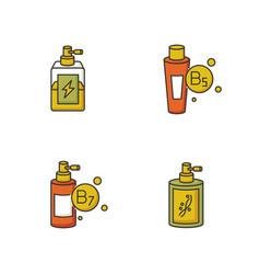 hair oils rgb color icons set antistatic sprayer vector image