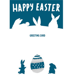 happy easter greeting card with bunny rabbit vector image