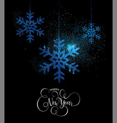 happy new year blue glitter snowflake card vector image