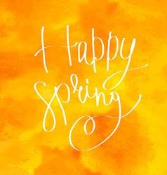 Happy spring watercolor lettering vector