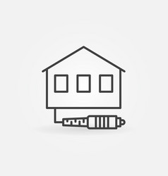 house with optic cable icon in thin line vector image