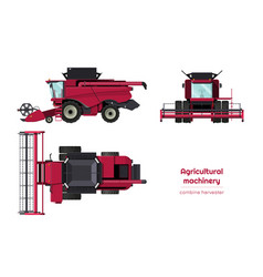 Isolated combine harvester side front top view vector