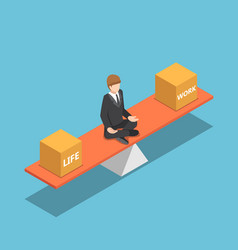 Isometric businessman balancing his life and work vector