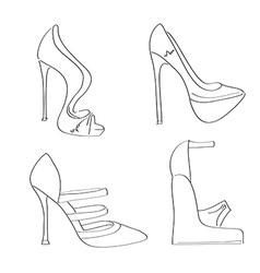 Items shoes set on a high heel isolated on white vector