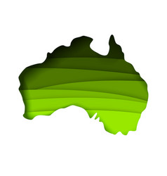 Layered paper cut style map australia vector