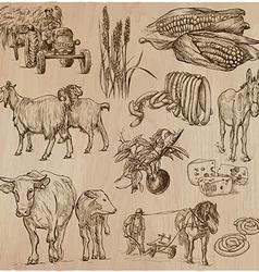 Life on the farm farming hand drawn pack vector