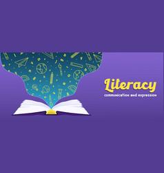 literacy web banner open book school icon concept vector image