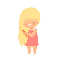 Little girl brushing her hair with comb vector