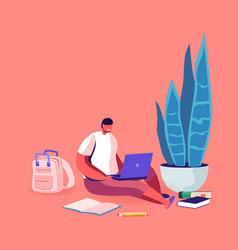 little schoolboy sitting on floor with laptop vector image