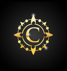 luxury c letter and gold logo vector image