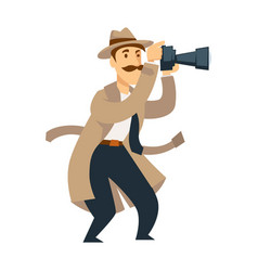 male private detective with professional camera vector image