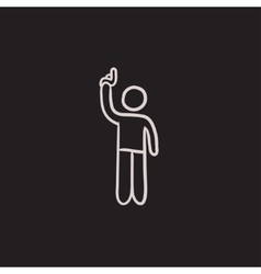 Man giving signal with starting gun sketch icon vector