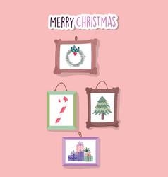 merry christmas celebration hanging frames vector image
