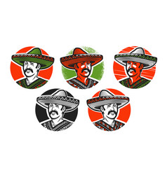 Mexican in sombrero logo or label cartoon vector