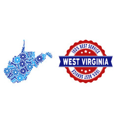 Mosaic west virginia state map of service tools vector