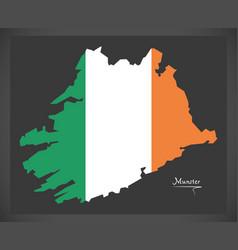 Munster map ireland with irish national flag vector