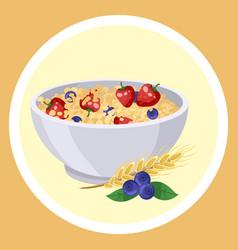 natural oatmeal porridge with strawberries vector image
