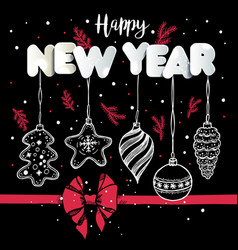 New year s toys hand drawn style on black with red vector
