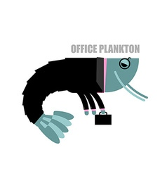 Office plankton shrimp in business suit and vector