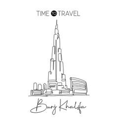 one single line drawing burj khalifa tower vector image