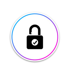 open padlock and check mark icon isolated on white vector image