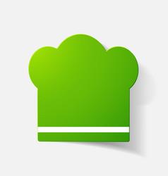 Paper clipped sticker chef cap vector