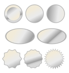 Pearl white foil label sticker set vector image