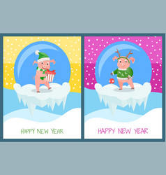 pig on winter snowy landscape wishes happy holiday vector image