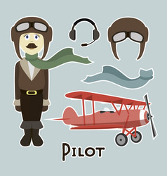 pilot in uniform vector image