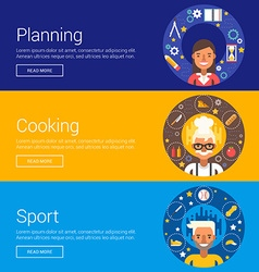 Planning Cooking Sport Flat Design Concepts for vector