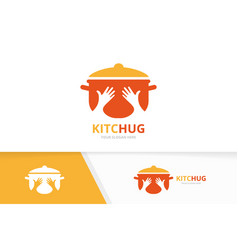 pot and hands logo combination kitchen and vector image