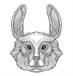 Rabbit head doodle with black nose vector