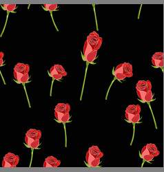 red rose buttons on stem seamless pattern on vector image
