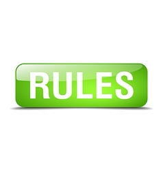 Rules green square 3d realistic isolated web vector
