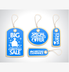 sale christmas tags set blue vector image