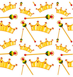seamless pattern tile cartoon with crowns vector image