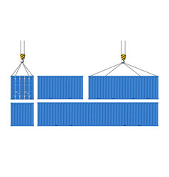 set cargo containers for transport goods vector image