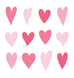 set hearts pink color vector image
