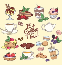 Set of fresh desserts with coffee tea berry ice vector